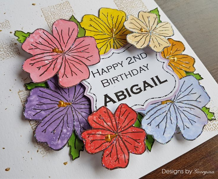 Birthday card. The flowers are stamped onto Gelli Plate printed backgrounds. I coloured the Gelli Plate is Distress Ink pads and spritzed before take prints. I used my Designs by Georgina Geranium Tag stamp for the flowers.  http://www.designsbygeorgina.co.uk/product/geranium-tag/