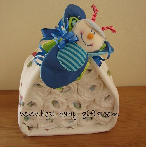 diaper bundle with baby rattle: so cute!
