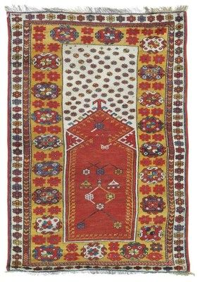 MELAS PRAYER RUG  WEST ANATOLIA, CIRCA 1860  Overall even wear, touches of repiling and a few small repairs, selvages replaced, ends secured 5ft. x 3ft.3in. (152cm. x 99cm.)