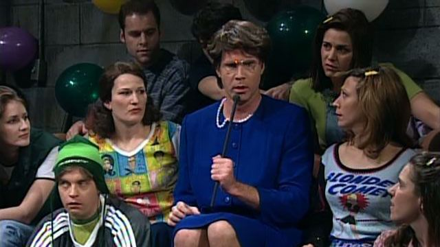 Janet Reno (Will Ferrell) hosts a dance party in her basement. After a President Clinton (Darrell Hammond) visit, she talks to a teen (Neve Campbell), who set up a health clinic. Reno ends the show stage diving onto the dancers. [Season 22, 1997]