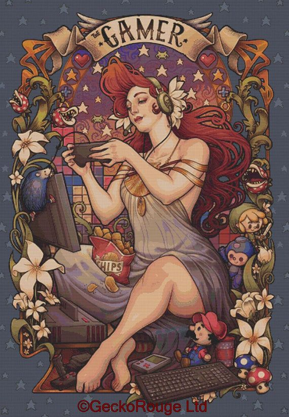 Extra Large Cross stitch 'Gamer Nouveau' Medusa by GeckoRouge