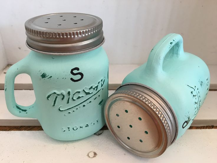 Salt and Pepper Shakers. Painted Mason Jars. Rustic Home Decor.