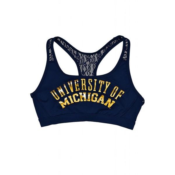 Victoria's Secret University Of Michigan Lace Yoga Bra ($20) ❤ liked on Polyvore