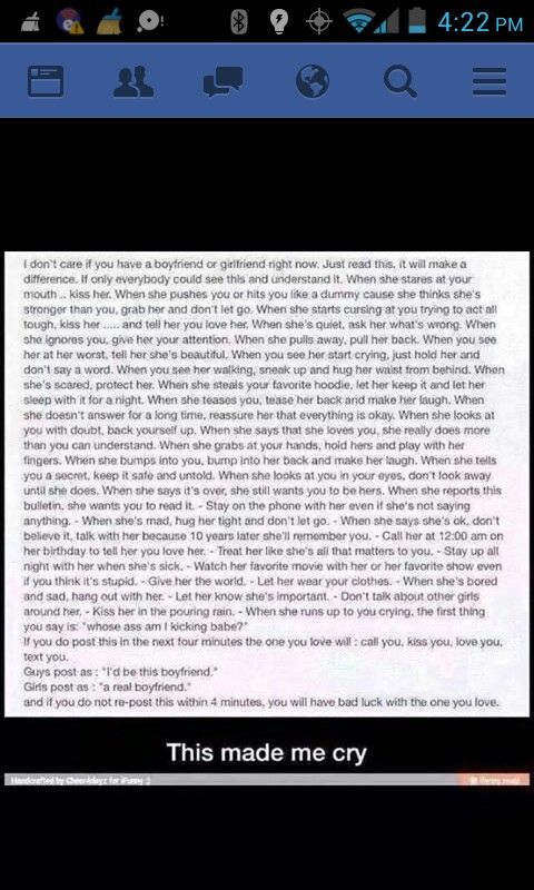 a real boyfriend: okay I don't believe the whole bad luck shit at the end but thus post really was sweet but that's also not a real relationship always. Most relationships have fights and have problems. Damn my boyfriend and I get at sometimes and he may not always do that cute shit you like but he will pull through when it matters if he is truly the one