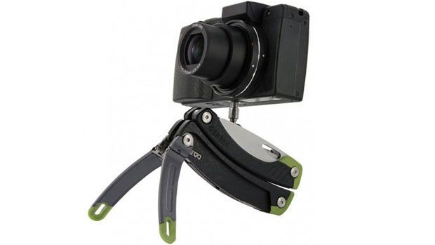 The Gerber Steady packs typical multi-tool components such as knives and screw drivers but also sports a mini tripod in the form of fold-out legs and a camera & cell phone mount. $44