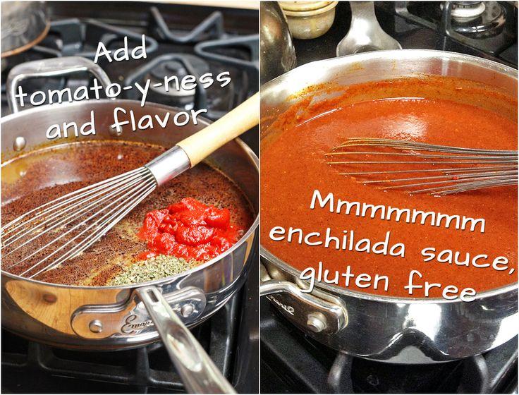 Easy Homemade Enchilada Sauce that is Gluten Free. Did you know enchilada sauce had gluten in it? | http://tiaskitchen.com/enchilada-sauce-recipe-gluten-free-dairy-free