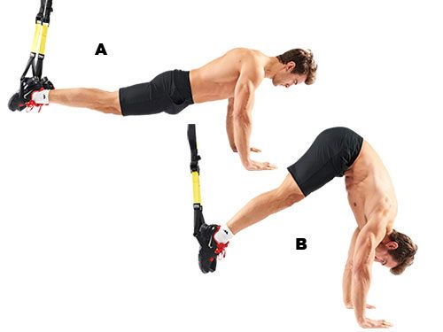 Pike Adopt a press-up position with both feet in the stirrups (A). Tense your core, exhale and, keeping your legs straight, raise your backside (B). With good form, this is a painful but high-yielding six-pack builder.