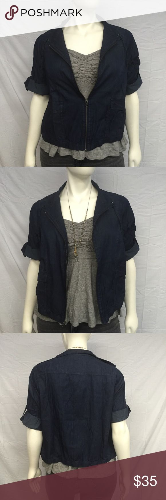 Torrid Denim Jacket Cute denim jacket from torrid! Drawstring neck. Roll tabs that can be unrolled to three quarter sleeves. Elastic hem. Two large front pockets. New with tags, never worn. Smoke and pet free home. A torrid size 0 is the equivalent of a 0X. torrid Jackets & Coats Jean Jackets