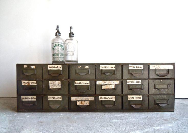 vintage industrial lyon steel 18 drawer cabinet 1940s industrial vintage and catalog. Black Bedroom Furniture Sets. Home Design Ideas