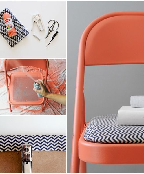The perfect way to DIY a folding chair! @Jackie Godbold Godbold Godbold Childress what if we got some super cheap folding chairs and did this for the kitchen table?