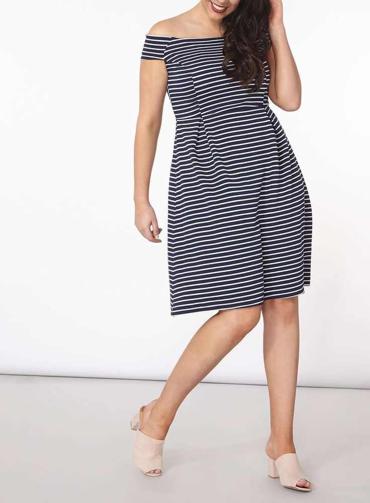 Womens DP Curve Plus Size Navy Striped Ribbed Bardot Fit And Flare Dress- Blue