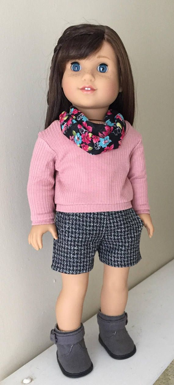 Fits American Girl doll: pullover sweater dress shorts and