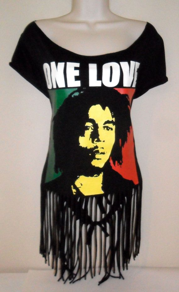 Unique Upcycled Fringed Bob Marley One Love Rasta Womens Tee