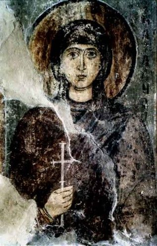 Saint Sophia Cathedral frescos: Saint Nathalie.- Ukraine  For lack of a better category I am combining saints with Angels