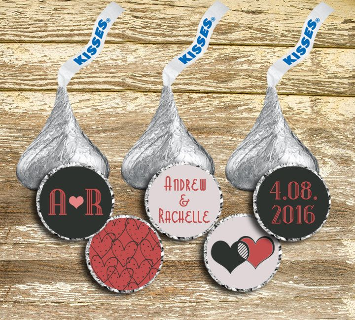 Hershey Kisses Labels - Pink and Gray Wedding, Hershey Kisses Stickers, Gray and Pink Wedding, Wedding Stickers, Personalized Wedding by LittlePrintsOttawa on Etsy