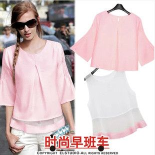 Free shipping Chiffon unlined upper garment temperament lovely seven fold sleeve vest babydoll dress coat two-piece outfit