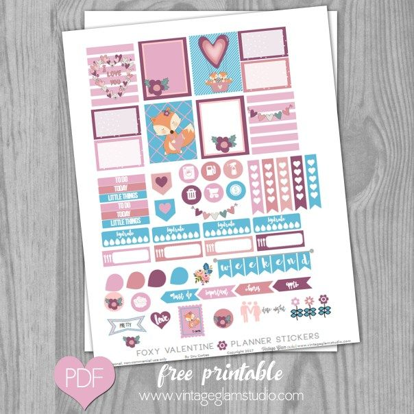 Foxy Valentine Planner Stickers – Free Printable   Vintage Glam Collectibles by Dru Cortez