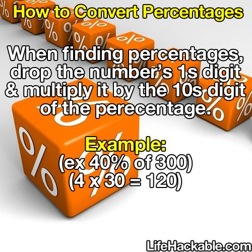 To find a percentage drop the numbers 1st digit and multiply by the tenth