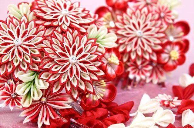 赤,花,つまみ細工簪2点セット