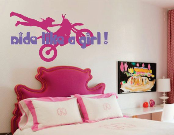 Girls Motocross Name Decal Motorcycle Nursery by SignJunkies, $42.95 Follow us to http://racdaynews.com