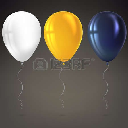 Inflatable air flying balloons isolated on dark background Close up look at black white and yellow b Stock Vector