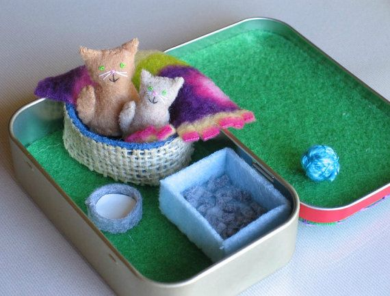 Cat and kitten plush miniature in Altoid tin playset- bed blanket milk bowl and litter box on Etsy, $27.00