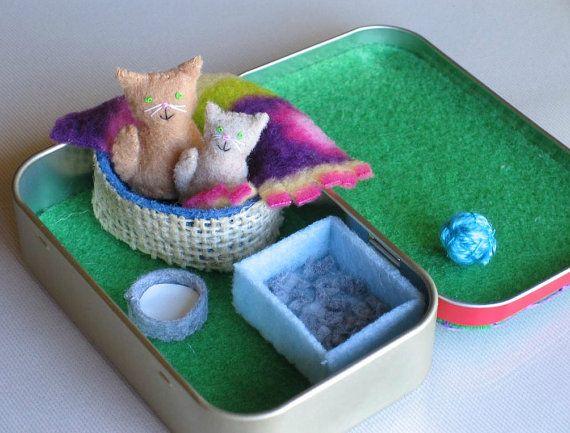 Cat and kitten stuffed animal miniature in Altoid tin playset- bed blanket milk bowl and litter box