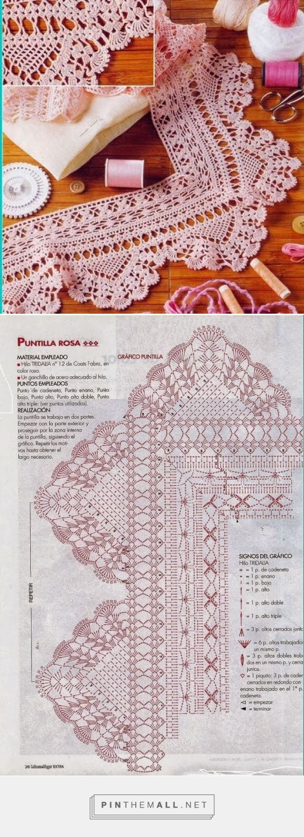Crochet lace edging with points, shells and scallops ~~ As Receitas de Crochê: Barrado com canto para toalhas