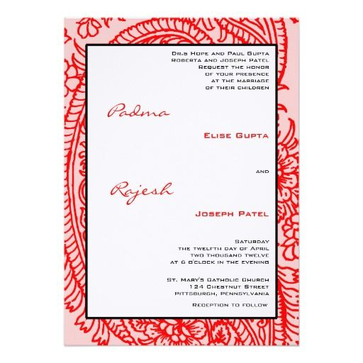 Pink and Red Paisley Indian Wedding Custom Invite