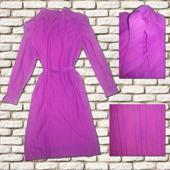 Pinky Purple Pin Stripe Pussy Bow Neck Dress by BessieMidge, £22.00