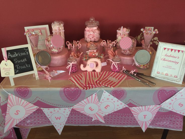 Pink candy buffet full of pink and white sweets for a christening, can't wait to use it again at birthdays and weddings