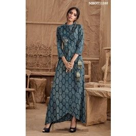 Blue Printed Asymmetrical Kurti Flaunting an asymmetrical hemline and complemented by the mandarin collar, flower embroidery and hand made tassels, this printed kurti demonstrates modern sensibility.