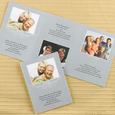 25th Anniversary Storyline - Invitation Item Number DAP9502X3P   Pictures of your lives together are shown in this trifold invitation. 25th Anniversary Storyline - Invitation