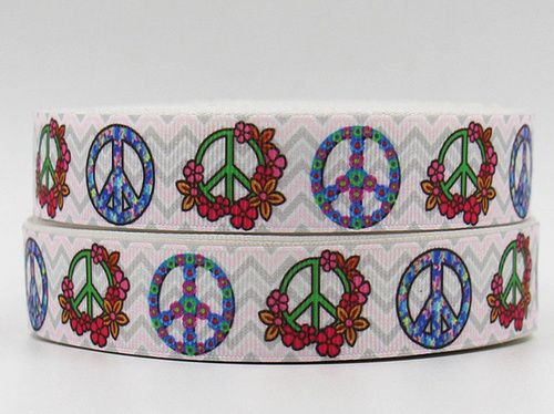 "Groovy White Peace Sign Symbol Floral 7/8"""" Lovely Grosgrain Ribbon"
