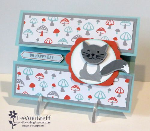 Foxy Friends fun fold card with video and measurements from Flowerbug's Inkspot