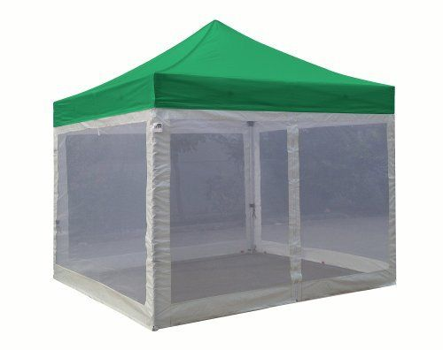 Eurmax Standard Ez Pop up Canopy with Four (4) Screen Walls and Wheeled Bag Bonus Awning (10x10ft, Kelly Green Top with White Screen Walls) by Eurmax. $279.95. Eurmax Standard Canopy (10x10feet) Includes:Canopy Top, Canopy Frame,Four(4) Screen Walls,Awning,Roller Bag.Four(4)Stakes.No loose parts; No tools required.. 4 zippered white screen sidewalls with one entry door,Bottom and Side Lining - Polyethelene. Canopy top:400 Denier Polyester,Water Resistant,100% UV Protection,Fire R...