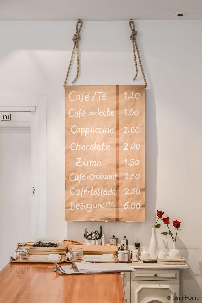 Menu Coffeebar ABCYou Bed And Breakfast Valencia #papermenu #creative #brickwall @abcyou