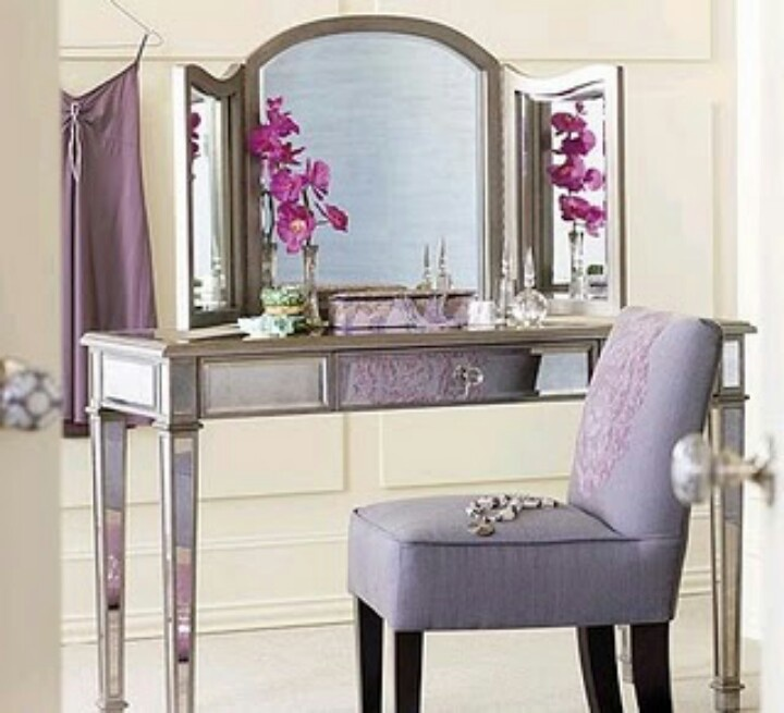 NEW Venetian Mirrored Vanity Makeup Silver Table Trifold Mirror
