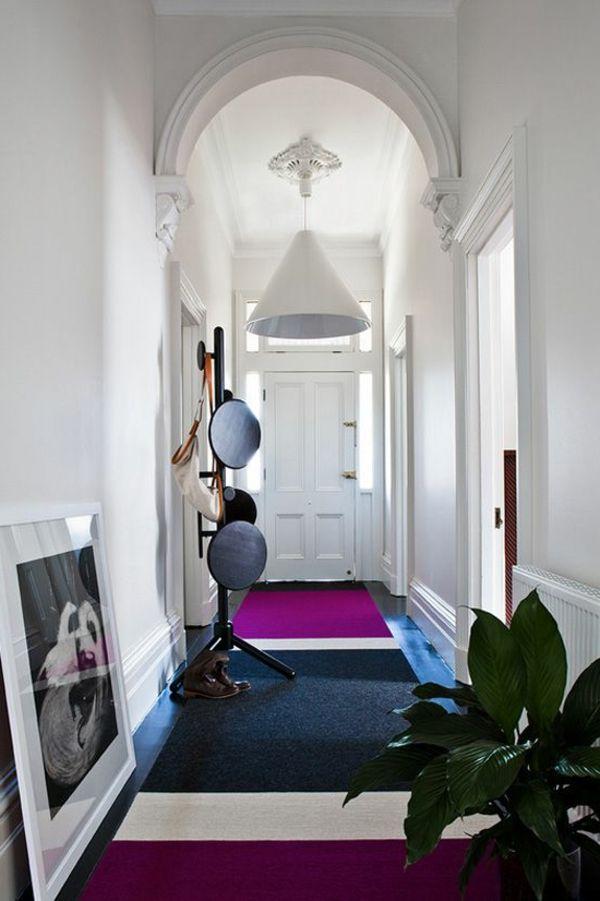 flur gestalten teppich muster lila grau
