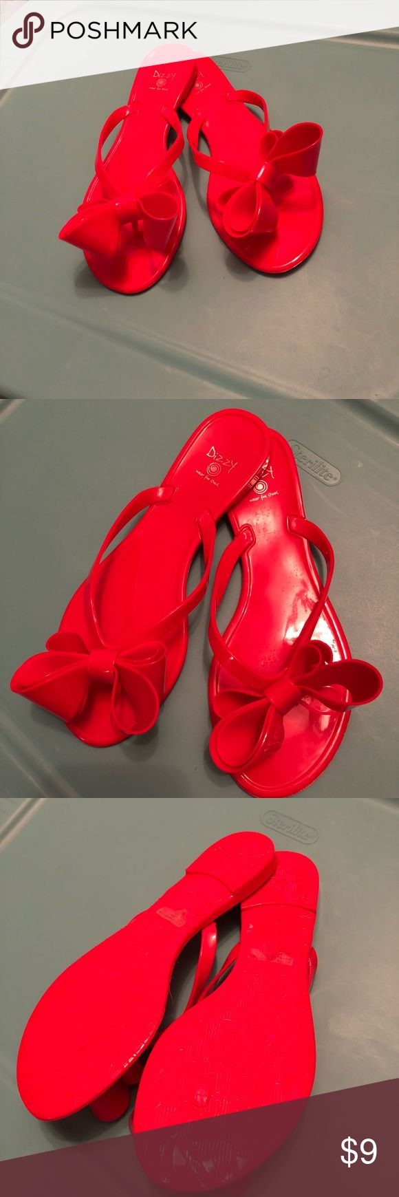 Red Bow Flip Flops! Brand New! Size Small (7)  Jelly like sandals Shoes Sandals