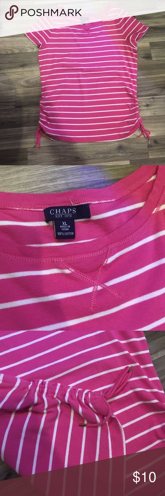 Adorable pink and white striped Chaps shirt! This shirt is in excellent condition and has adorable side detailing with strings as shown in photo. It's a size XL and true to size. 100% cotton and just simply adorable. Chaps Tops