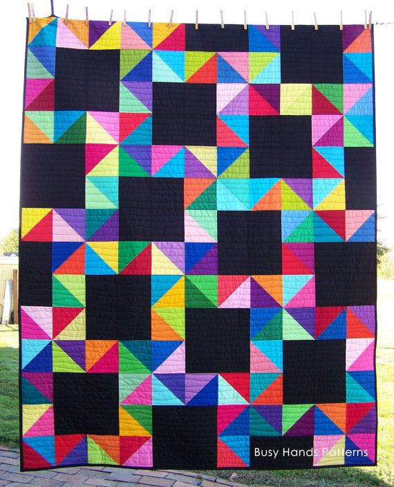 Quilts For Sale, Amish Quilt, Handmade Quilt, Lap Quilt, Falling Stars Quilt, HST Quilt, Solid Colors, Bright Quilt, Busy Hands Quilts
