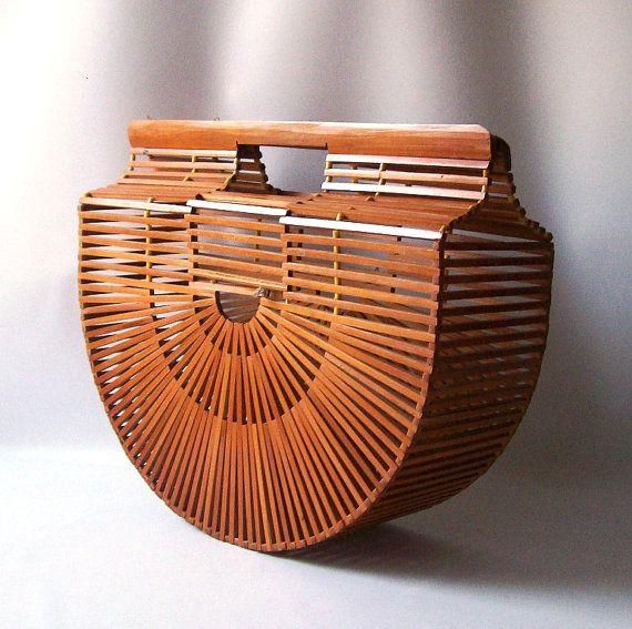 vintage basket purse bamboo handbag clutch by RecycleBuyVintage, $52.00