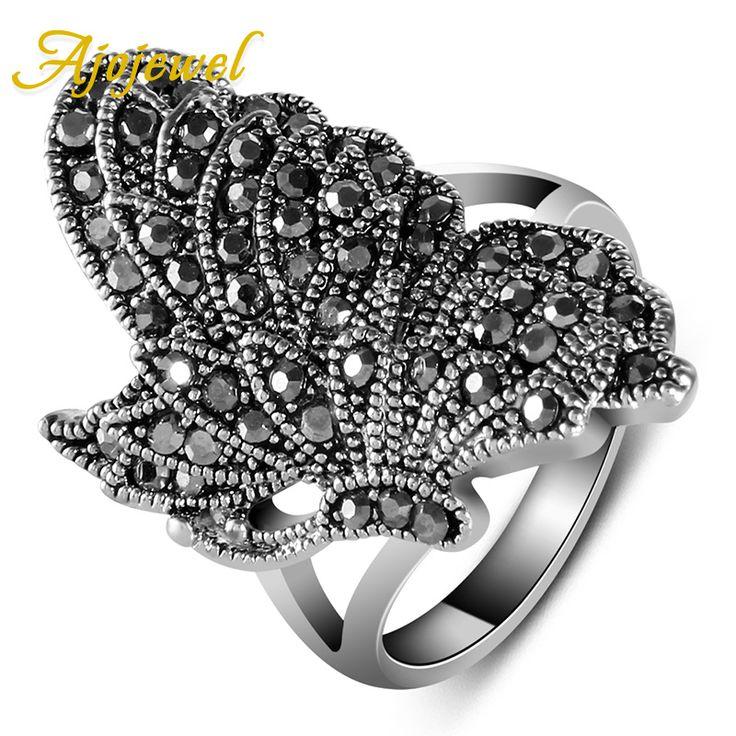 Ajojewel merek #7-9 unik elegant vintage gaya baru warna silver hitam cz berlian kupu-kupu wanita cincin hewan perhiasan