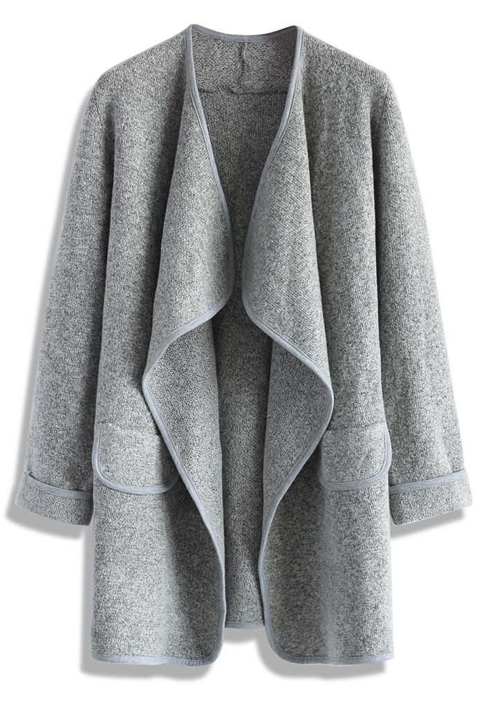 Just Knitted Open Coat in Grey - New Arrivals - Retro, Indie and Unique Fashion