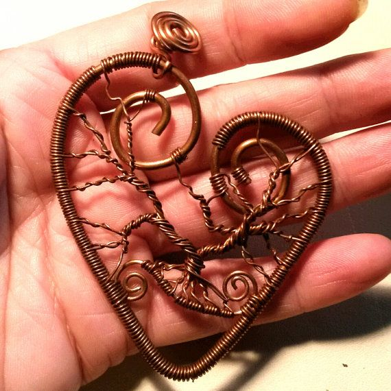 Made to Order Copper Heart Tree of Life Pendant by CPaulDesigns