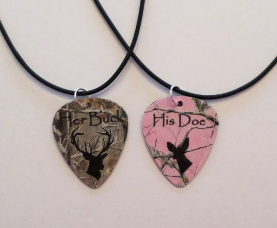 Her Buck His Doe Guitar pick matching necklaces for couples love girl guy deer realtree camo pink on Etsy, $26.81 CAD