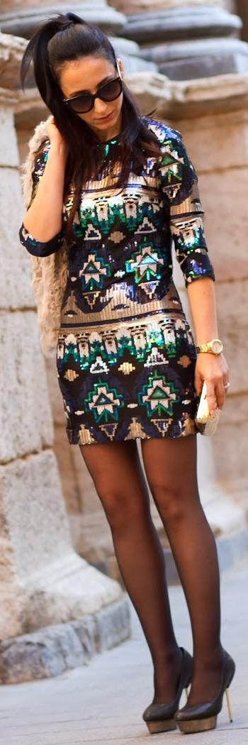 CHRISTMAS OUTFIT IDEAS: AZTEC SEQUINED MINI DRESS     http://www.withorwithoutshoes.com/2013/12/christmas-outfit-ideas-aztec-sequined.html