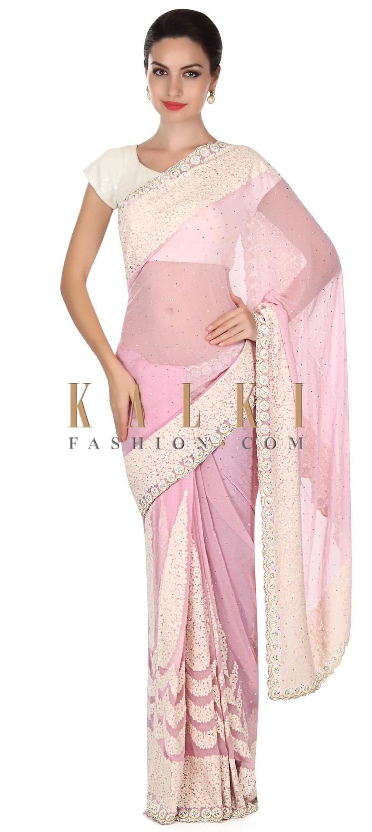 Buy this Pink saree in thread and kundan embellished border only on Kalki