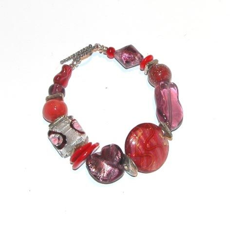 Murano Glass Bracelet Red/Silver/Gold
